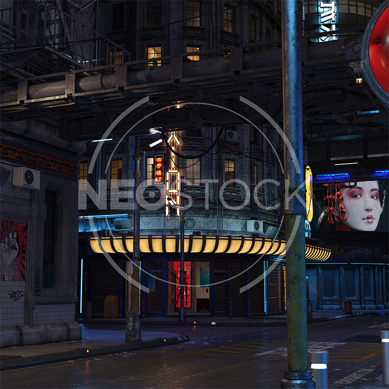 NeoStock - CG Cyberpunk City Background I - Stock Photography I