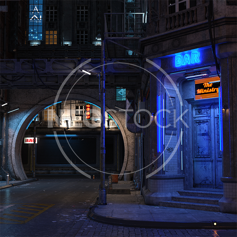NeoStock - CG Cyberpunk City Background II - Stock Photography I